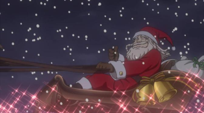 Miss Monochrome Christmas Santa Claus Sleigh Thumbs Up Snow