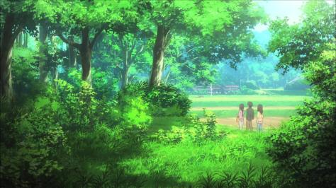 Non Non Biyori Hotaru Ichijou Family Road Walk Forest Trees Landscape Green Country