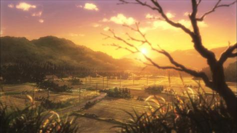 Non Non Biyori  Winter Sunset Landscape Rural