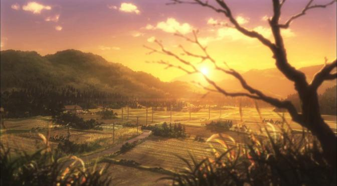 Non Non Biyori Winter Sunset Landscape Rural