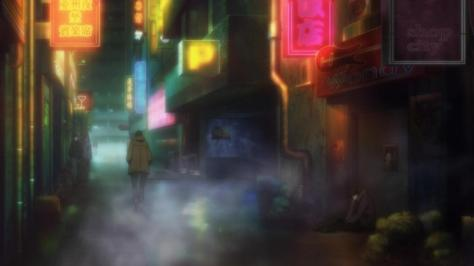 Psycho-Pass Cyberpunk City Night Lights Neon Mist Steam Bars