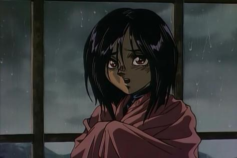 Battle Angel Alita OVA Gally Rain Wet Hair Blanket Scared Fear