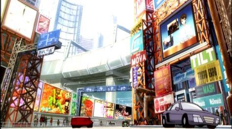 Burst Angel Bakuretsu Tenshi Tokyo Cyberpunk City News Building Television Monitor Cars Neon Advertising