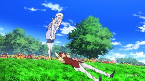 Gundam Build Fighters Reiji Aila Jyrkiäinen Park Hill Flowers Field Tree