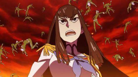 Kill la Kill Satsuki Kiryuuin Sunset Commanding Students Flying Bodies