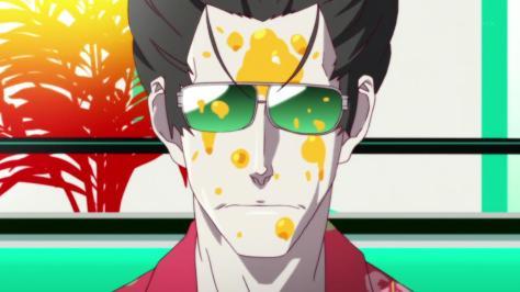 Monogatari Series Second Season Deishu Suzuki Kaiki Glasses Orange Juice Face Hawaiian Shirt