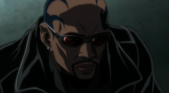 Blade Marvel Anime Eric Brooks Bald Tatoo Black Jacket Sunglasses