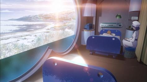 Nagi no Asukara Chisaki Hiradaira Isamu Kihara Hospital Landscape Snow Scenery Sunlight Lens Flare