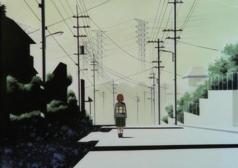 Serial Experiments Lain Iwakura Road Street Power Electrical Lines Shadows Background