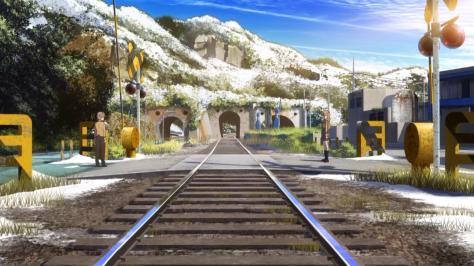 Nagi no Asukara Sayu Hisanuma Kaname Isaki Railroad Train Tracks Love Confession Snow