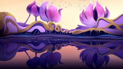 Space Dandy Wallpaper Planet Planta Purple Flowers Sky Lake Reflection