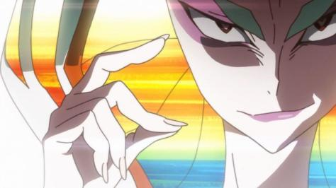 Kill la Kill Ragyou Kiryuuin Face Eyes Finger Snap Sneer Smirk Rainbow Hair