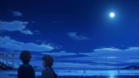Nagi no Asukara Hikari Sakishima Miuna Shiodome Confession Moonlight Ocean Clouds Sky Reflection