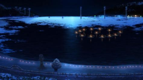 Nagi no Asukara Ofunehiki Ceremony Ships Boats Fire Night Evening Moonlight Ocean Sea Shore Landscape