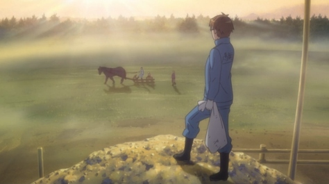 Silver Spoon Season 2 Gin no Saji Yugo Hachiken Sunrise Morning Overlooking Festival Horse Field