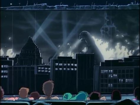 Urusei Yatsura - Movie 2 Beautiful Dreamer Outdoor Movie Theater Black And White Godzilla Film Mother Moroboshi Shinobu Miyake Ataru Moroboshi Lum Jariten Megane Back Of Heads