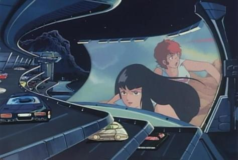Crusher Joe The Movie Dirty Pair Cameo Kei Yuri Drive In Theater Hover Cars
