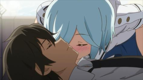 Kanojo ga Flag wo Oraretara If Her Flag Breaks Gaworare Mei Daimyouzamurai Kiss Cheek Souta Hatate Unconcious Blushing