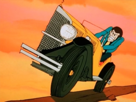 Lupin III Part I Arsene Lupin III Driving Classic Car Cut In Half Sunset Bridge