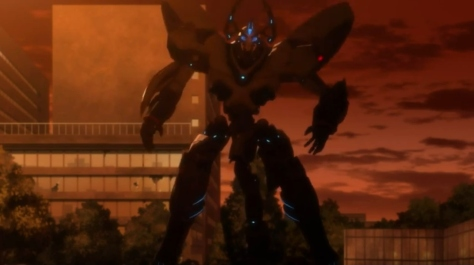 M3 The Dark Metal M3 Sono Kuroki Hagane Mecha Robot Argent Reaper Sunset CGI Pose
