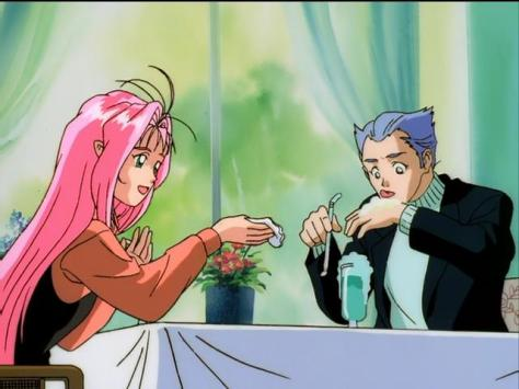 Macross 7 Mylene Flare Jenius Kizaki Gamlin Date Restaurant Cream Soda Hand Licking