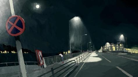 Ping Pong the Animation Yutaka Hoshino Peco Street Night Lonely Streetlight Racket Throw Landscape