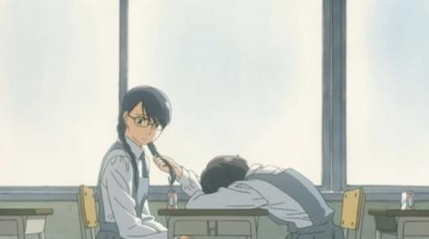 Sweet Blue Flowers Aoi Hana Fumi Manjoume Yasuko Sugimoto Leaning On Desk Fingers In Braided Pigtails Classroom Window