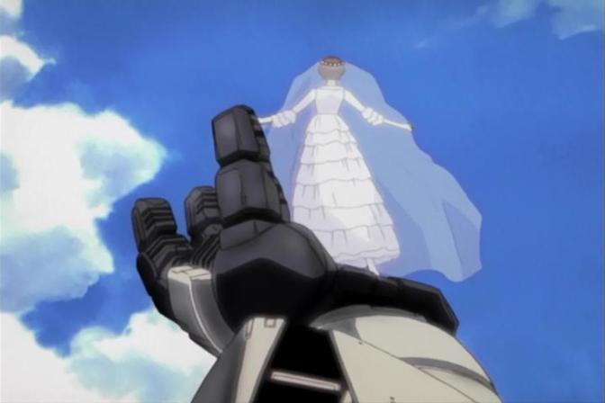 Turn A Gundam Sochie Heim Wedding Dress Standing Turn A Gundam Outstreched Hand Blue Sky