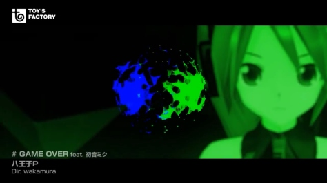 GAME OVER Hatsune Miku Green Face Blue Orb Hachioji-P