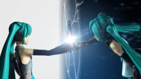 Nebula Tripshots Hatsune Miku Double Gateway Link Hands Touching Reach