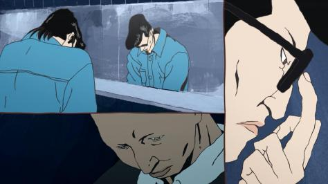 Ping Pong the Animation Ryuuichi Kazama Dragon Manabu Sakuma Demon Akuma Bathroom Restroom Mirror Stall Talk Glasses Push
