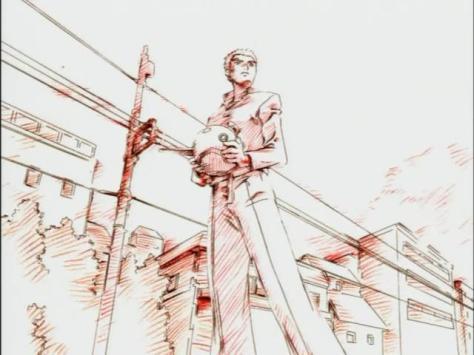 Sadamitsu The Destroyer Hakaima Sadamitsu Tsubaki Sadamitsu Holding Junk Helmet Red Sketch Outline Animation