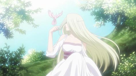The World is Still Beautiful Soredemo Sekai wa Utsukushii Sheila Livius's Mother Smile White Dress Green Grass Bird