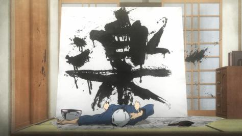 Barakamon Seishuu Handa On The Floor Calligraphy Wall Giant Canvas Fun Splatter
