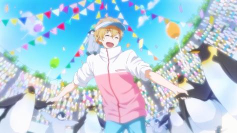 Free! Eternal Summer Hazuki, Nagisa Penguin Trainer Pink Jacket Balloons Confetti Amusement Park Zoo