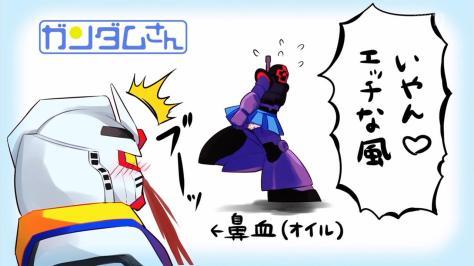 Mobile Suit Gundam-san Kidou Senshi Gundam-san Dom Skirt RX-78 Nosebleed Panty Flash