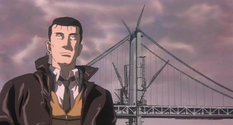 Patlabor the Movie 2 Kidō keisatsu patoreibā the movie 2 Captain Kiichi Goto Tokyo Bay Bridge Boat Ride Leather Jacket Clouds