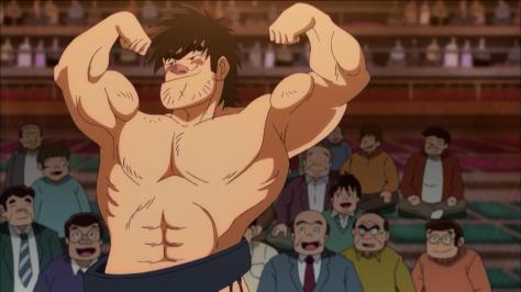 Rowdy Sumo Wrestler Matsutaro Abarenbou Rikishi!! Matsutarou Sakaguchi Matsutarou Muscle Flexing Arms Crowd Victory Pose