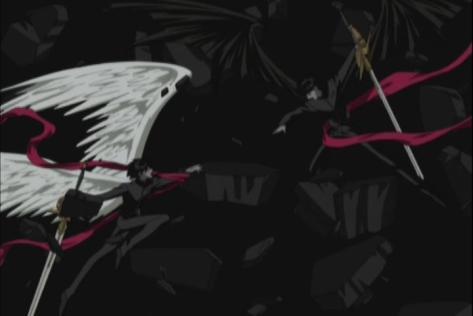 X TV Kamui Shiro Fighting Himself Dragon of Heaven Dragon of Earth Angel Seal Black and White Wings Sacred Sword Divine Sword Ribbons