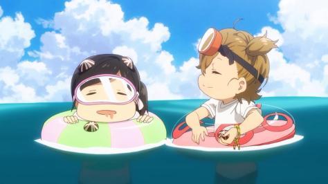 Barakamon Naru Kotoishi Hina Kubota Floating Inner Tubes Ocean Beach Day