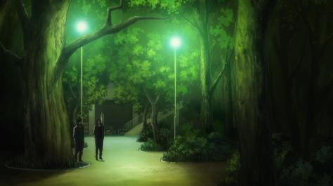 Free! Eternal Summer Sousuke Yamazaki Rin Matsuoka Night Outside Trees Green Lights