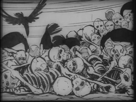 Ninja bugei-cho - Band of Ninja Manual of Ninja Martial Arts (1967, Nagisa Oshima) Sanpei Shirato Piles of Skeletons Human Bones Eaten By Birds