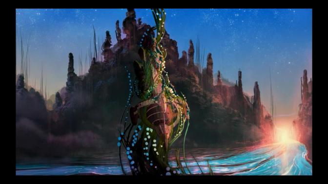 Space Dandy Season Two End Credits Planet Limbo Episode Background Art Landscape Sun River
