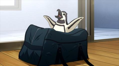 Tokyo ESP Peggy The Penguin In Rinka Urushiba Gym Bag Arms Out