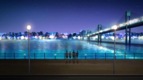 Free! Eternal Summer Haruka Nanase Rei Ryuugazaki Makoto Tachibana Nagisa Hazuki City Water River Lights Bridge Last Night Memories