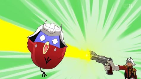 Mobile Suit Gundam-san  Kidou Senshi Gundam-san Char Aznable Shooting Pistol At Angry Bird Lookalike