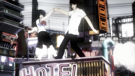 Mysterious Girlfriend X Nazo no Kanojo X Akira Tsubaki Mikoto Urabe Dream World City Dancing On Rooftops