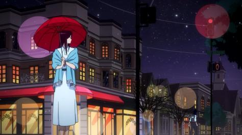 Space Dandy Season Two Dandy Scarlett Walking Away Snowing City Lights Umbrella
