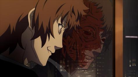 Tokyo ESP The Professor Hokusai Azuma Smiling Out The Window Reflection Real Face Heavy Scars Burn Damage