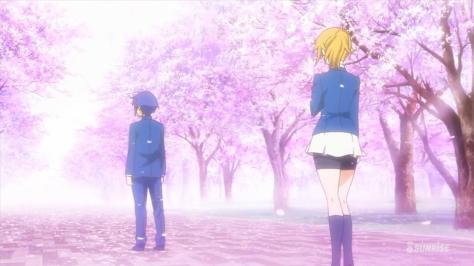 Gundam Build Fighters Try Fumina Hoshino Yuuma Kousaka Sakura Cherry Blossoms School Uniforms Leaving Gunpla Battle